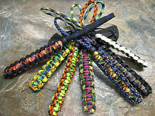 (7) PACK LOT OF 2 COLOR PARACORD NO CORE KNIFE LANYARD'S W/ BEAD AMERICAN MADE