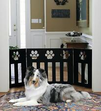 Paw Decor Wooden Pet Gate - Durable Lightweight 3 Panel Expandable Dog Fence