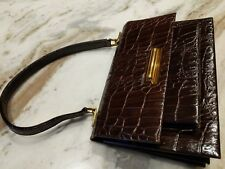 Vintage Genuine CROCODILE Alligator Brown LEATHER PURSE Handbag Pocketbook