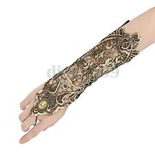 Vintage Women Wedding Bridal Party Costume Gold Lace Fingerless Arm Wrist Gloves