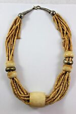 Vtg Tribal Bovine Bone Multi-strand Necklace Brass Accents