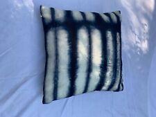 Throw Pillow - Artist's Screenprint Tie Dye Navy and White Zippered