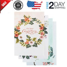 Anniversary Inspirational Boxed Cards Floral Border 12Cards 4 Design Assortments