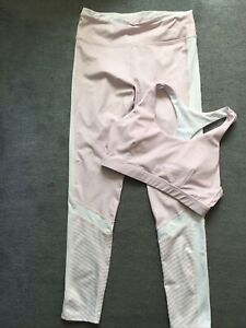 2 Piece Gym Set Leggings And Bra Top Pale Pink Size L Polyester Spandex