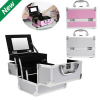 Homdox Extendable Makeup Train Case Aluminum Cosmetic Jewelry Box With Mirror