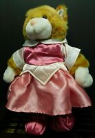 """15"""" Build a Bear Plush Orange Tabby Cat with Princess Gown and Booties EUC!"""