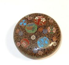 JAPANESE CLOISONNE ENAMEL MOON SHAPE DESIGNS TRINKET JAR BOWL BOX