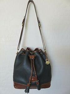 Vintage Dooney & Bourke Tassel Bucket Bag Black Leather Shoulder Handbag USA