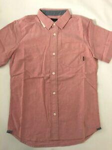 Vans New Gibbon Short Sleeve Button Down Chili Pepper Shirt Youth Boy's Medium