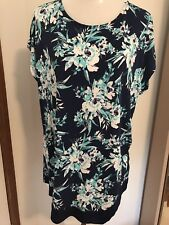 Ladies Size 20 Navy, Blue and White Floral Asymmetrical Top