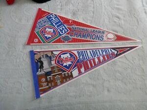 Philadelphia Phillies pennant lot 2 Full size new vtg 90's World Series 1993 MLB