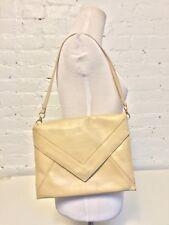 Vintage 70s Tano Leather Envelope Shoulder Bag Clutch Beige Gold Tone Hardware