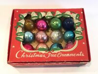 "Vintage Small Glass Christmas Tree Ornaments IOB 1"" Made In Japan"