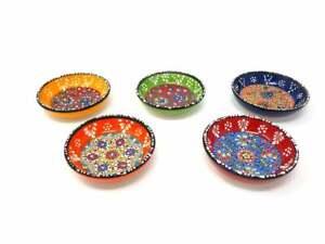 Turkish Handmade Ceramic Bowl, Colorful Ceramic Bowl, Serving Bowl 5 Pcs