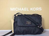 NWT Authentic Michael Kors Black Signature PVC Small Flap Crossbody Bag Purse