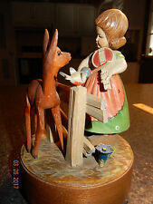 Antique Wooden Reuge Swiss Music Box Girl With Fawn
