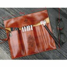 Retro Vintage Pencil Pen Case Roll Cosmetic Pouch Pocket Brush Holder Makeup Bag