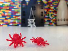 Handmade MonkiStuff Spider Earrings Red/Silver made from LEGO® Bricks Halloween