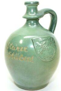 """Steirer Stüberl Stoneware Ceramic Green Whiskey Jug 7.5"""" X 5"""" Lion Crest Vintage"""