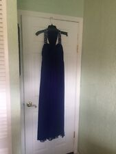 Long Betsy & Adam Prom Dress Size 2 Purple with Silver Beading