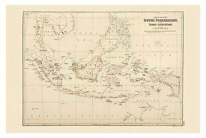 Old Vintage Decorative Map of Dutch East Indies Sumatra Java Fullarton 1872
