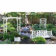 White 4 Piece Outdoor Garden Bridge Collection Set Home Living Wood X Design