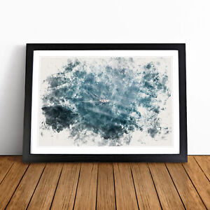 Boat in the Open Sea Watercolour Wall Art Framed Print Home Decor Picture