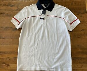 NWT Faconnable Mens Small White Navy Collar Red Trim Short Sleeve Polo Shirt $98