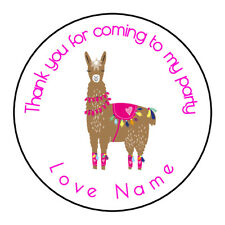 Drama Llama Pink Personalised Thank You Sticker Party Sweet Cone Birthday