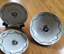 """9"""" Round Vegetable Bowl 3 Bread & Butter Plates Royal China USA Rooster Vintage"""