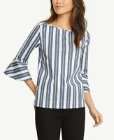 NWT Ann Taylor Womens Ivory Blue Striped Bell Sleeve Boat Neck Top Blouse Size L