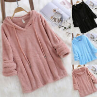 Women Plush Hooded Sweatshirt Winter Long Sleeve Tops Blouse Fleece Coat Outwear