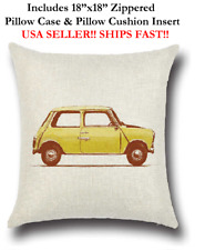 "18x18 18""x18"" 18in YELLOW CLASSIC MINI COOPER CAR AUTO Pillow Case & Cushion"