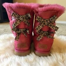 Rare Ugg Australia Pink Bailey Boots With Leopard Bows New Women's Size 7