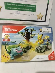 Mega Construx Pokemon PIKACHU vs BULBASAUR 140 Pcs DYF11 Building Set UNOPENED ✅