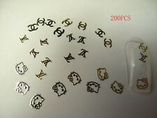 200pcs Kitty CC L V Metallic Gold Studs Nail Stickers for Nail Art FREE SHIPPING