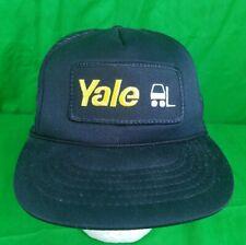Vtg Yale Forklift Hat Equipment Patch Dirty Snapback Trucker Mesh Cap