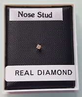 Brand New 9ct Gold & Diamond L shaped Nose Stud - boxed