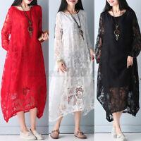 Oversize Femme Robe Couture de Dentelle Manche Longue 100%Coton Dresse Plus