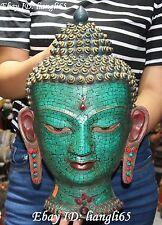 "16""Tibetan Turquoise Red Coral Gem Shakyamuni Amitabha Buddha Head bast Statue"