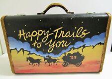 Vtg Painted Suitcase Train Case Leather Art C. Savage Luggage HAPPY TRAILS Decor