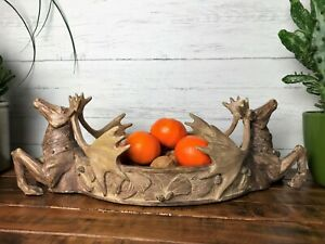 Stags Head Deer Reindeer Fruit Bowl Basket Sweet Dish Vintage Rustic Style