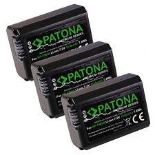 PATONA 3x Batteria Premium per Sony NP-FW50 Alpha 5000 6000 NEX-6 NEX-F3 NEX-7