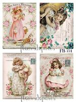 ~ Shabby Chic Vintage Victorian Girls Roses 4 Prints on Fabric Quilting FB 774 ~