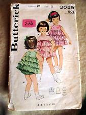 2T 21 Vtg Butterick 3058 Cute RUFFLED Dress Frock Slip & Bloomers Sewing Pattern