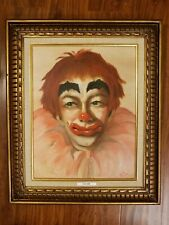 """Vintage Scary Clown  """"Facade"""" Framed Oil Painting on Canvas by Anita Malakasi"""