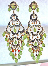 HUGE VINTAGE 18K DIAMOND GREEN DEMANTOID GARNET EARRING