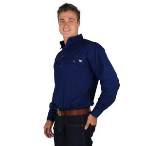 8.King River Navy Half button Work Shirt Ringers Western