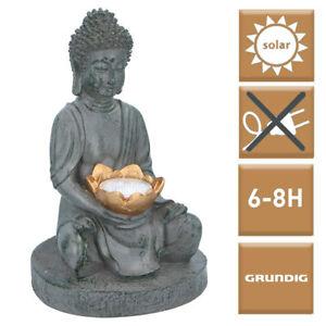 Buddha Deko Figur mit Solarlampe Buddah Steingrau Budda Figuren Modern Garten