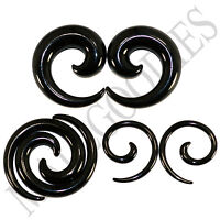 "V128 Black Spiral Swril Stretchers Tapers Expanders 4 2 0 00G Gauges 1/2"" Plugs"